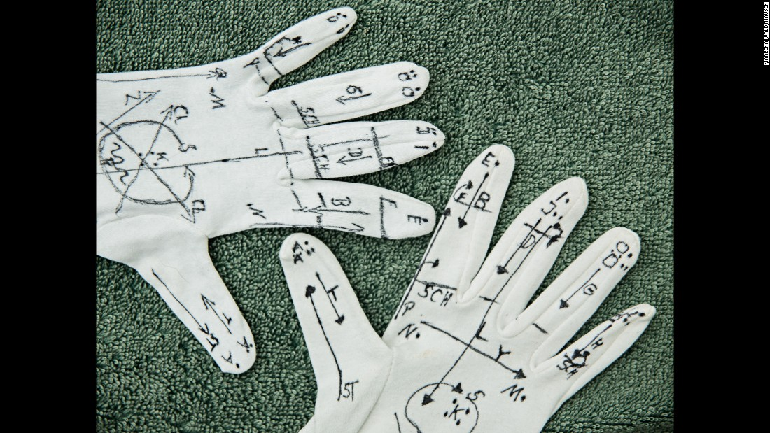 Jörg and Rolf´s parents drew the Lorm alphabet on gloves. The Lorm alphabet was developed by Hiernoymus Lorm in 1881 to enable communication with deaf-blind people.