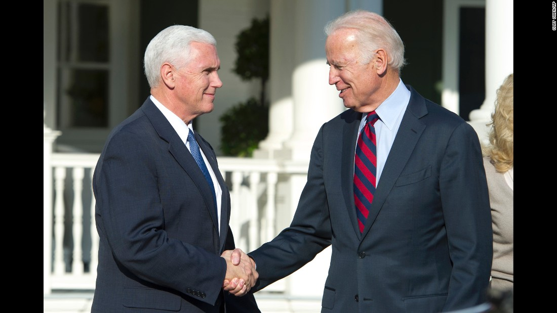 "Biden shakes hands with his successor, Mike Pence, after <a href=""http://www.cnn.com/2016/11/16/politics/joe-biden-mike-pence/"" target=""_blank"">they had lunch in Washington</a> in November 2016."