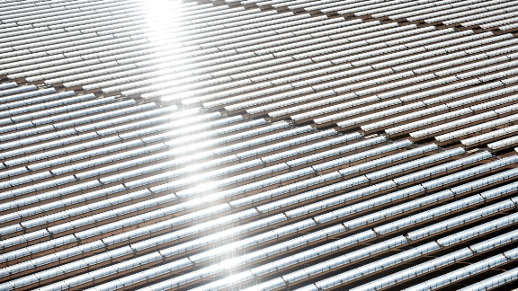 An aerial view of the solar mirrors at the Noor 1 Concentrated Solar Power plant, 12.5 miles outside the central Moroccan town of Ouarzazate.