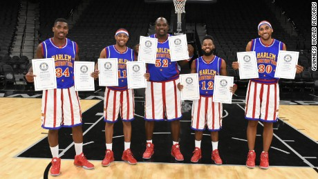 Harlem Globetrotters, a US exhibition basketball team, inspire many to try their amazing records, such as marking goals blindfolded.