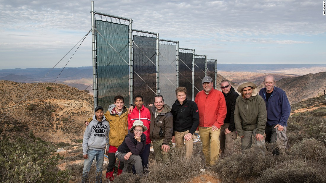 "This Moroccan NGO, <a href=""http://darsihmad.org/fog/"" target=""_blank"">Dar Si Hmad</a>, runs the largest functioning fog collection project, generating an average of 6,000 liters of water a day. Pictured here, members of the team in Morocco pose with German colleagues."