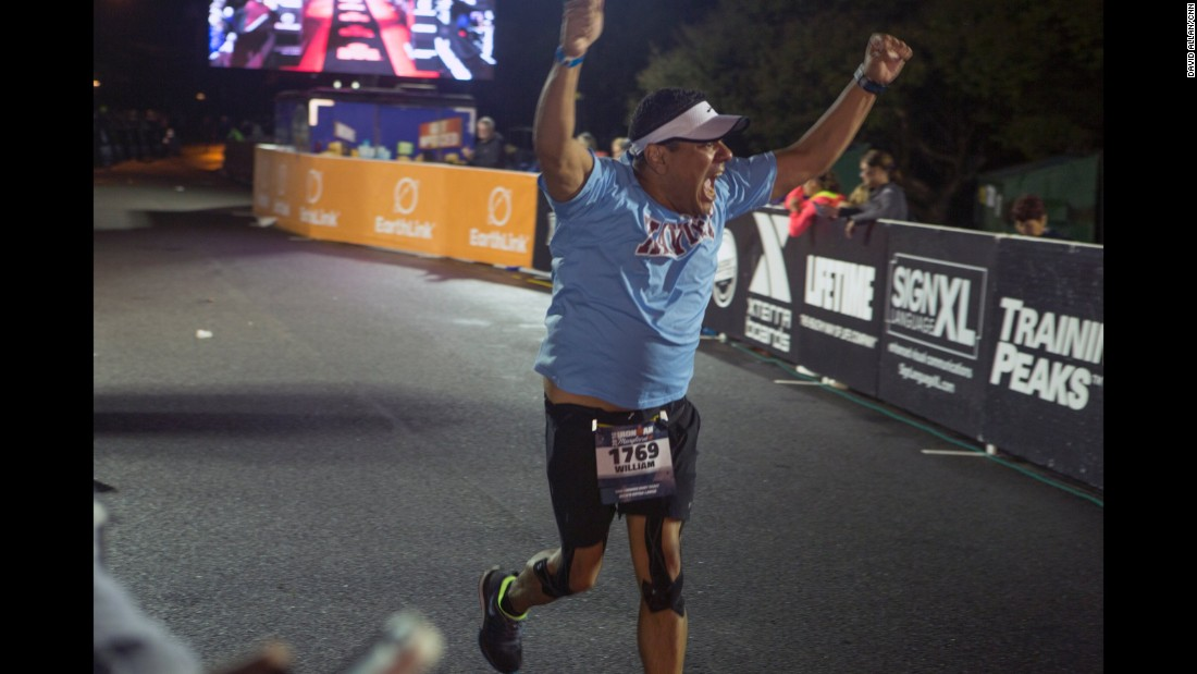 "Every finisher is met with the customary salute from the announcer: ""You are an Ironman!"""