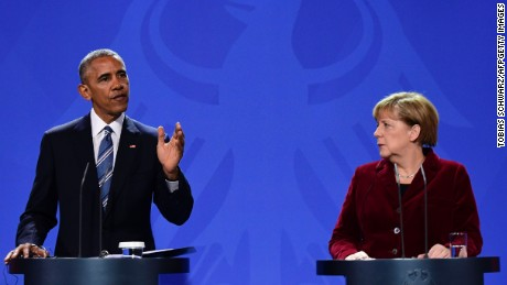 US President Barack Obama and German Chancellor Angela Merkel address a press conference after their meeting at the chancellery  in Berlin on November 17, 2016. US President Barack Obama pays a farewell visit to German Chancellor Angela Merkel, seen by some as the new standard bearer of liberal democracy since the election of Donald Trump. / AFP / TOBIAS SCHWARZ        (Photo credit should read TOBIAS SCHWARZ/AFP/Getty Images)