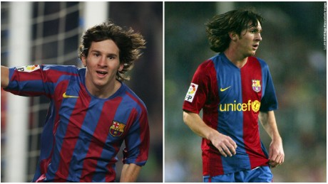 Barcelona shirts before and after the 2006 UNICEF sponsorship.