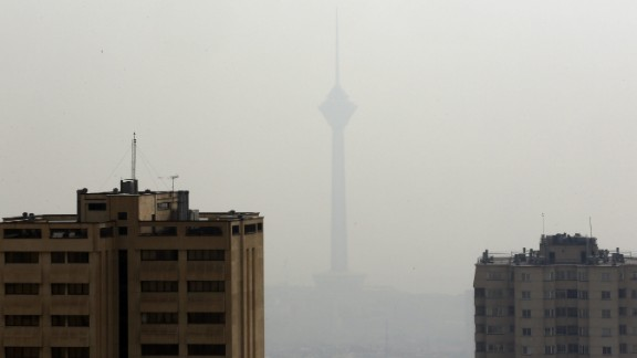 The Milad telecommunications tower behind smog in Tehran, November 16, 2016.