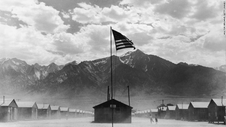 A US flag flies at a Japanese-American concentration camp in Manzanar, California, in July 1942.