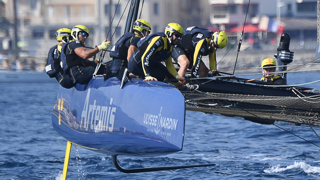 Competitors in the America's Cup face challenging sailing. Here the Swedish team is pictured in action off Toulon in September.
