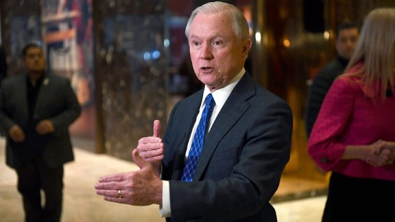 Senator Jeff Sessions of Alabama talks to the media at the Trump Tower in New York on November 17, 2016.