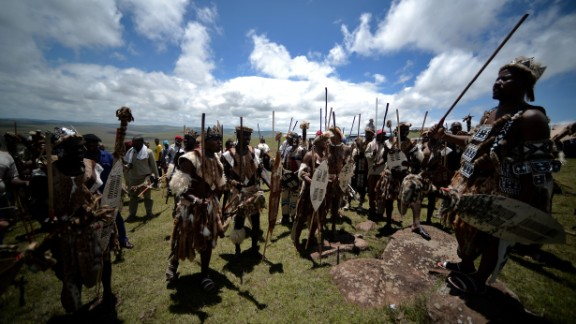 """A feature of marital affairs for many Bantu-speaking tribes in South Africa, Zimbabwe and Swaziland, lobola is practiced by, among others,  Zulus (pictured). Lobola is also referred to as """"bridalwealth"""", with the prospective groom's family negotiating with the bride's for her hand in marriage. The dowry comes in many forms, including money, but some choose cattle. There were reports in 1998 that Nelson Mandela (of Thembu lineage) paid the marital lobola of 60 cows to the family of new wife Graca Machel.  """"It's the cause of much conflict,"""" says Lewis, """"because in order for a man to get married he must provide often quite a substantial head of cattle, and so he's in indentured labor to his father until the herd he's caring for is big enough."""" In societies that are cattle based, men tend to marry in their mid-forties, he adds, explaining that """"there's always a backlog of women who are available but unable to marry"""" because men of a similar age have not yet raised the required bridalwealth."""