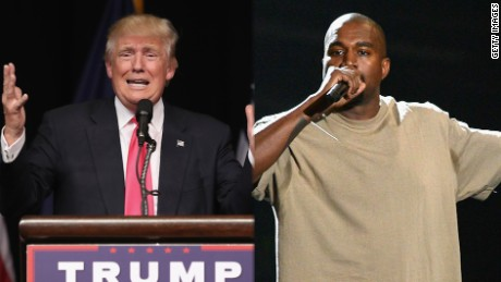 SCRANTON, PA - JULY 27: Republican Presidential candidate Donald Trump addresses a crowd of supporters on July 27, 2016 in Scranton, Pennsylvania. Trump spoke at the Lackawanna College Student Union Gymnasium. (Photo by John Moore/Getty Images)  LOS ANGELES, CA - AUGUST 30: Vanguard Award winner Kanye West speaks onstage during the 2015 MTV Video Music Awards at Microsoft Theater on August 30, 2015 in Los Angeles, California. (Photo by Kevork Djansezian/Getty Images)