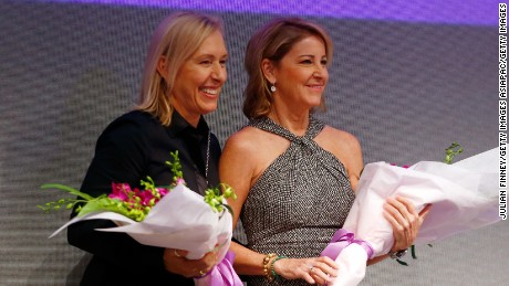 SINGAPORE - OCTOBER 30:  Martina Navratilova and Chris Evert on stage at Singapore Tennis Evening during BNP Paribas WTA Finals at Marina Bay Sands on October 30, 2015 in Singapore.  (Photo by Julian Finney/Getty Images)