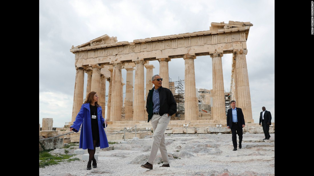 "US President Barack Obama tours the Acropolis in Athens, Greece, on Wednesday, November 16. Obama is making <a href=""http://www.cnn.com/2016/11/15/us/gallery/obamas-final-trip/index.html"" target=""_blank"">his last international trip as president,</a> visiting Greece, Germany and Peru."