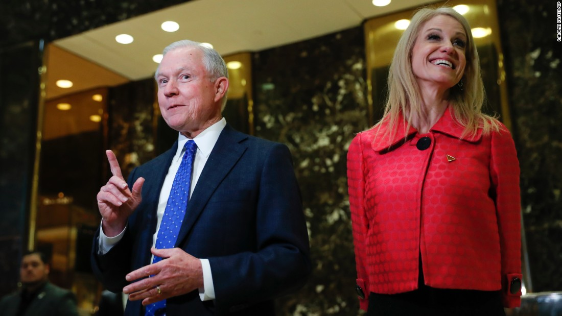 "US Sen. Jeff Sessions is accompanied by Kellyanne Conway, the campaign manager for President-elect Donald Trump, as he speaks to the media in New York on Thursday, November 17. The next day, it was announced that Trump <a href=""http://www.cnn.com/2016/11/17/politics/jeff-sessions-attorney-general-donald-trump-consideration/index.html"" target=""_blank"">intends to nominate Sessions</a> for attorney general. Sessions, 69, is currently serving his fourth Senate term in Alabama. Trump <a href=""http://www.cnn.com/2016/11/18/politics/donald-trump-national-security-team-sessions-flynn-pompeo/index.html"" target=""_blank"">also unveiled his nominations</a> for CIA director (US Rep. Mike Pompeo) and national security adviser (retired Army Lt. Michael Flynn)."
