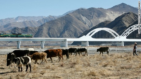The Chinese-built Qinghai-Tibet railway spans 1,956km across high altitudes linking Xining in Qinghai Province to Lhasa.