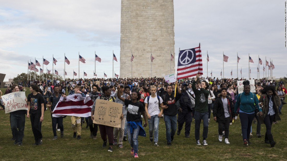 "Thousands of high school students gather around the Washington Monument to protest Trump on Tuesday, November 15. <a href=""http://www.cnn.com/2016/11/09/us/gallery/trump-protest-across-america/index.html"" target=""_blank"">At least 25 US cities have seen protests</a> since Trump won the election."