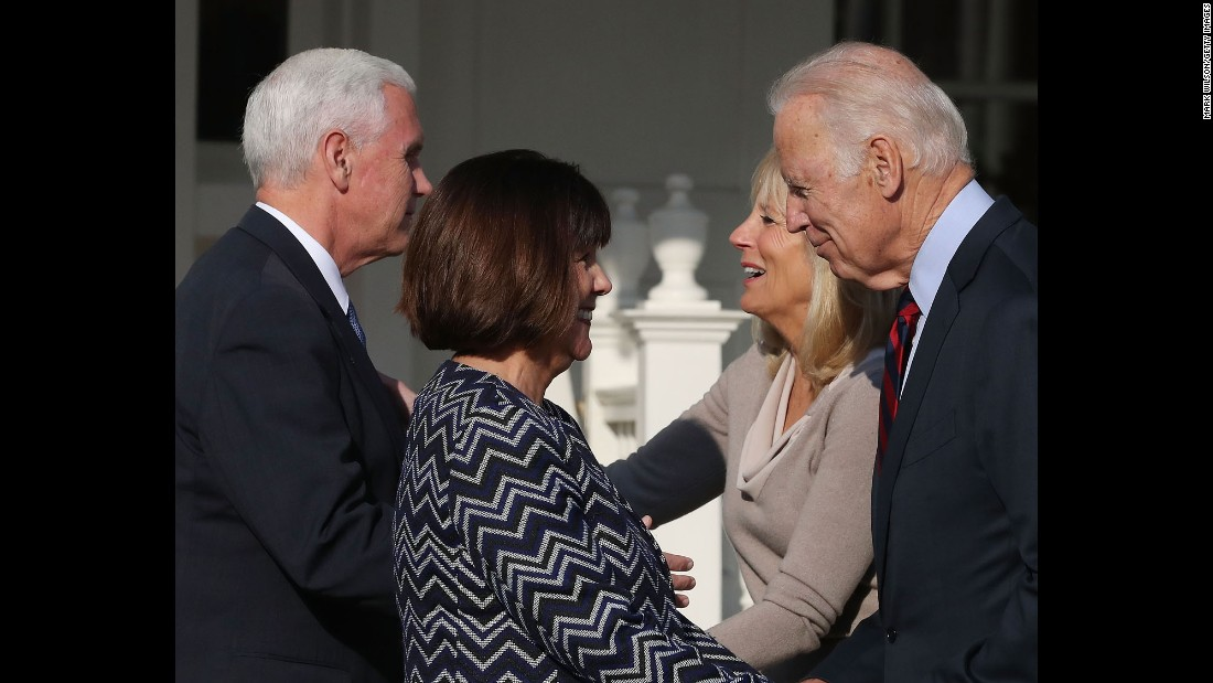"At right, Vice President Joe Biden and his wife, Jill, say goodbye to Vice President-elect Mike Pence and his wife, Karen, after <a href=""http://www.cnn.com/2016/11/16/politics/joe-biden-mike-pence/"" target=""_blank"">they had lunch together</a> in Washington on Wednesday, November 16."