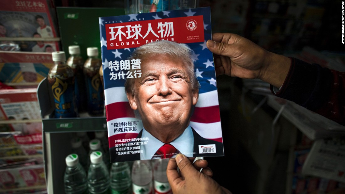 "A copy of the Chinese magazine Global People -- seen at a newsstand in Shanghai -- reads ""Why did Trump win?"" on Monday, November 14."