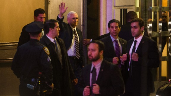 "Vice President-elect Mike Pence leaves the Richard Rodgers Theatre after a performance of ""Hamilton,"" in New York, November 18."