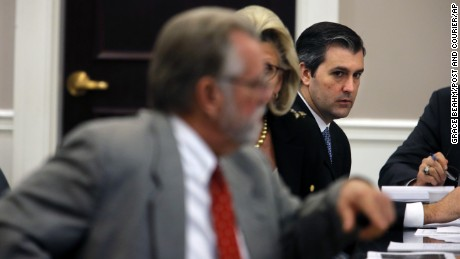 Former North Charleston Police Officer Michael Slager (right) in court this week as he stands trial for the murder of Walter Scott.