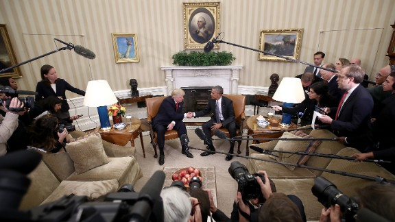 Trump shakes hands with President Barack Obama following a meeting in the Oval Office on November 10. Obama told his successor that he wanted him to succeed and would do everything he could to ensure a smooth transition.