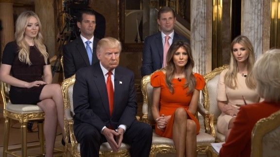 """60 Minutes"" correspondent Lesley Stahl interviews Trump and his family at his New York home on Friday, November 11. It was Trump's first television interview since the election."