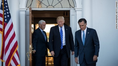 BEDMINSTER TOWNSHIP, NJ - NOVEMBER 19: (L to R) Vice president-elect Mike Pence, President-elect Donald Trump and Mitt Romney leave the clubhouse after their meeting at Trump International Golf Club, November 19, 2016 in Bedminster Township, New Jersey. Trump and his transition team are in the process of filling cabinet and other high level positions for the new administration.  (Photo by Drew Angerer/Getty Images)
