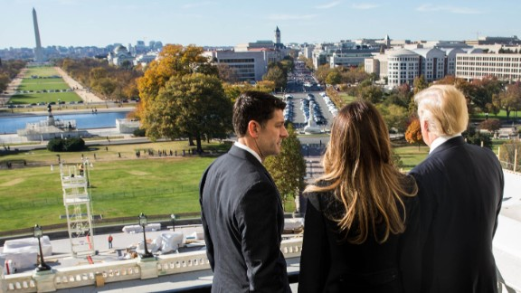 House Speaker Paul Ryan shows Trump and his wife, Melania, the Speaker