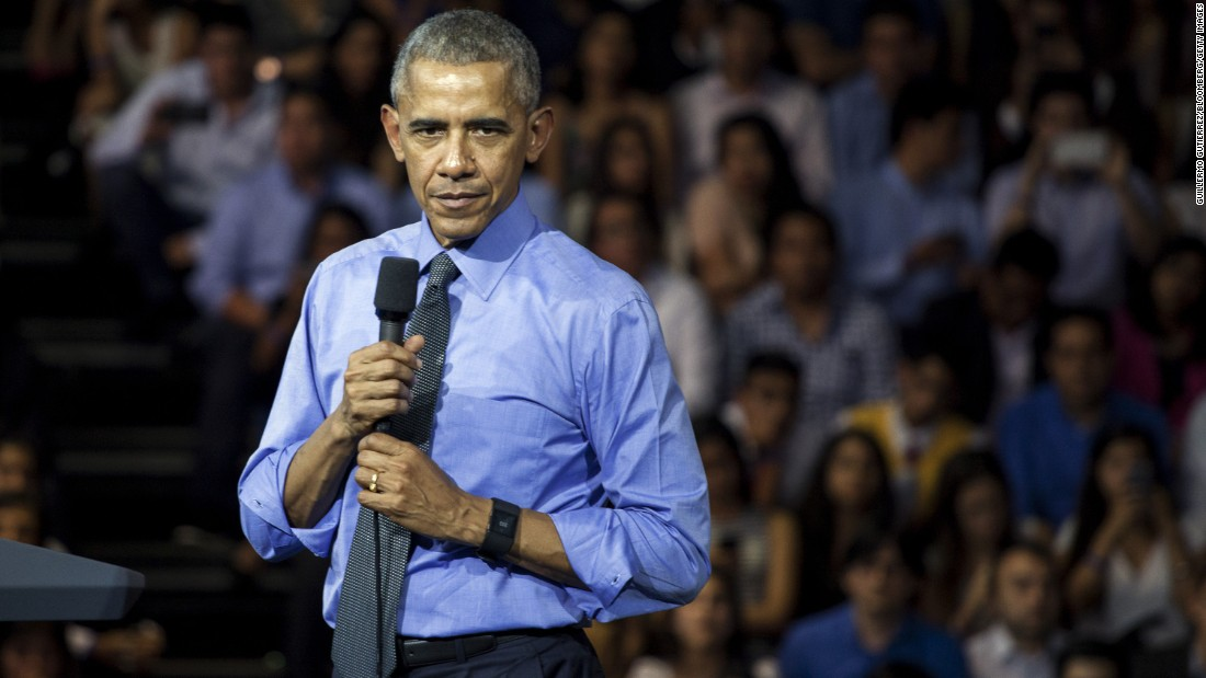 Obama addresses a town-hall meeting in Lima for the Young Leaders of the Americas Initiative.