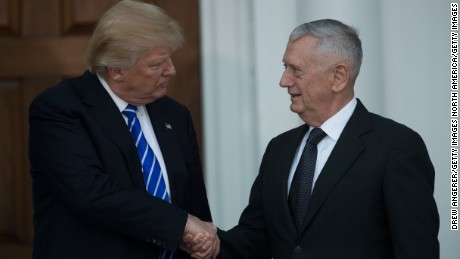 BEDMINSTER TOWNSHIP, NJ - NOVEMBER 19:  (L to R) President-elect Donald Trump shakes hands with retired United States Marine Corps general James Mattis after their meeting at Trump International Golf Club, November 19, 2016 in Bedminster Township, New Jersey. Trump and his transition team are in the process of filling cabinet and other high level positions for the new administration.  (Photo by Drew Angerer/Getty Images)