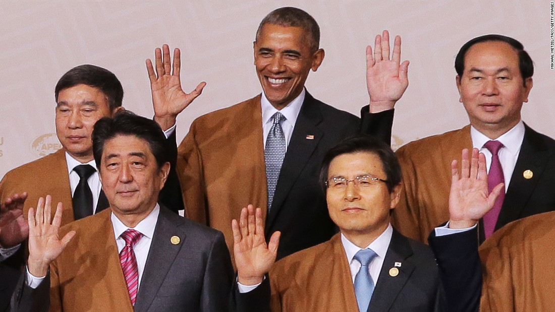 "US President Barack Obama, center, poses for a group photograph Sunday, November 20, at the summit of the Asia-Pacific Economic Cooperation. The summit was held in Lima, Peru. Joining Obama in this photo, from left, are Thai Deputy Prime Minister Prajin Juntong, Japanese Prime Minister Shinzo Abe, South Korean Prime Minister Hwang Kyo-ahn and Vietnamese President Tran Dai Quang. Obama is on <a href=""http://www.cnn.com/2016/11/14/politics/obama-trip-greece-germany-peru/index.html"" target=""_blank"">his last international trip as president.</a> He made earlier stops in Greece and Germany."