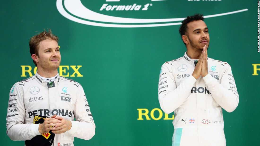 "The Mercedes rivals share the podium at Interlagos as Hamilton dominates a rain-hit thriller to claim his first <a href=""http://edition.cnn.com/2016/10/30/motorsport/motorsport-mexico-gp-hamilton-rosberg/index.html"" target=""_blank"">Brazilian Grand Prix</a> victory ahead of Rosberg. The result sends the title race down to the wire in Abu Dhabi."