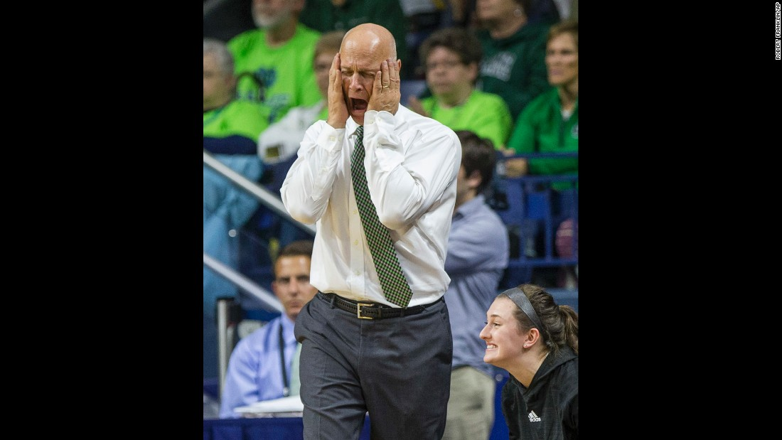 Green Bay basketball coach Kevin Borseth reacts to one of his team's turnovers at Notre Dame on Thursday, November 17.