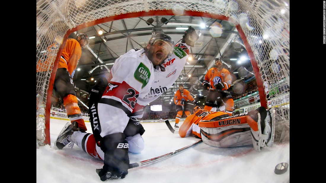 Kolner Haie's Max Reinhart celebrates a goal against Grizzlys Wolfsburg during a German league hockey game on Friday, November 18.