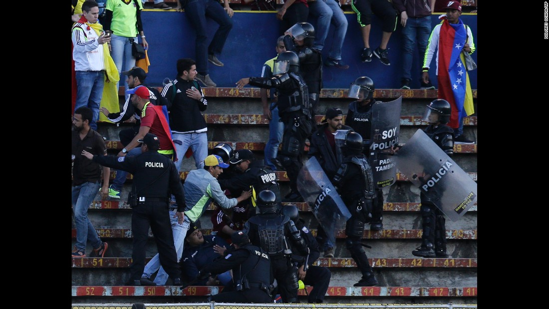 Venezuela soccer fans clash with police during a World Cup qualifier in Quito, Ecuador, on Tuesday, November 15.