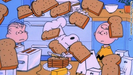 "A CHARLIE BROWN THANKSGIVING - The ABC Television Network will celebrate the start of the holiday season with the classic special, ""A Charlie Brown Thanksgiving,"" MONDAY, NOVEMBER 21 and TUESDAY, NOVEMBER 22 (8:00-9:00 p.m., ET), on the ABC Television Network. In the 1973 special ""A Charlie Brown Thanksgiving,"" Charlie Brown wants to do something special for the gang. However the dinner he arranges is a disaster when caterers Snoopy and Woodstock prepare toast and popcorn as the main dish. Humiliated, it will take all of Marcie's persuasive powers to salvage the holiday for Charlie Brown. (©1973 United Feature Syndicate Inc.)  A Charlie Brown Thanksgiving (1973)  Titles: A Charlie Brown Thanksgiving Characters: Linus van Pelt, Snoopy Photo by SEE CREDIT - © 1973 United Feature Syndicate Inc. All rights reserved. NO ARCHIVE. NO RESALE."