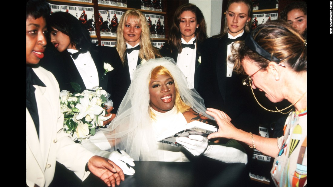 "Rodman wears a wedding gown to a book signing in 1996. He had just released his memoir ""Bad as I Wanna Be."""