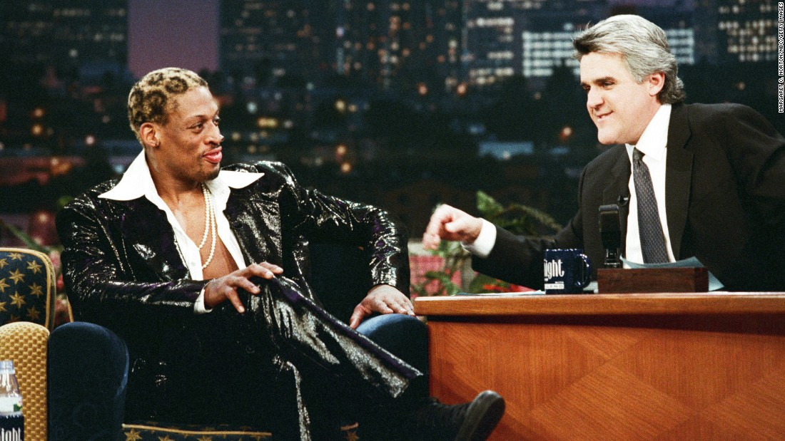 "Rodman appears on ""The Tonight Show with Jay Leno"" in 1998."