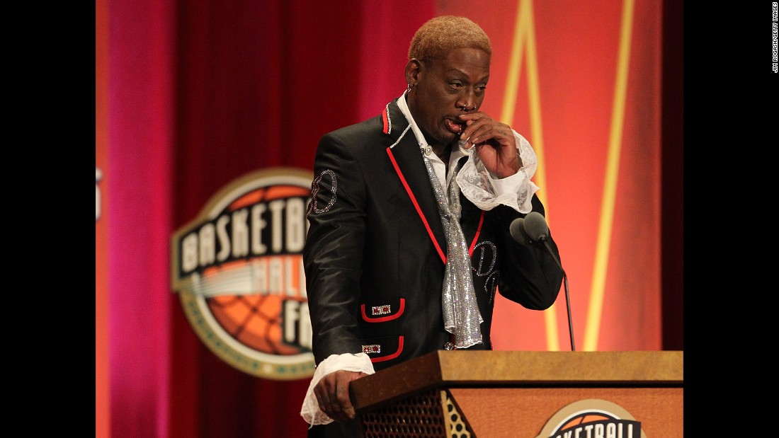 "Rodman cries during his Hall of Fame speech in 2011. ""I didn't play the game for the money,"" he said. ""I didn't play to be famous. What you see here is just an illusion; I just love to be an individual that's very colorful."""