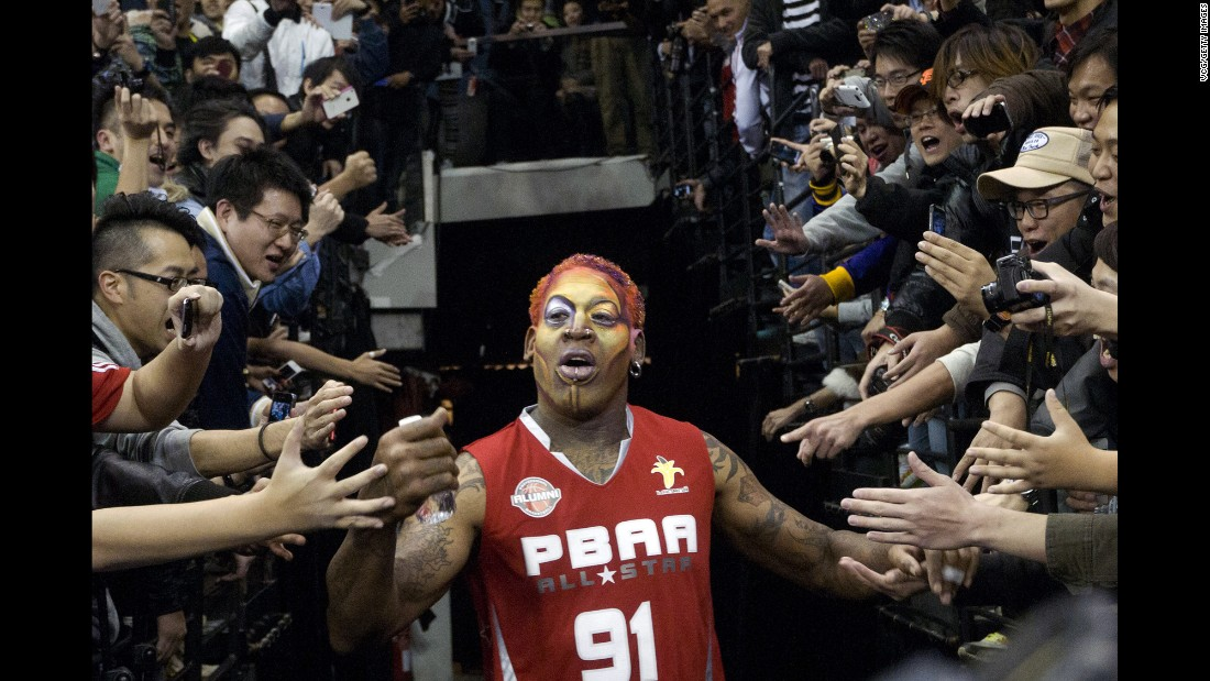 Rodman wears elaborate makeup before playing an exhibition game in Macau in 2011.