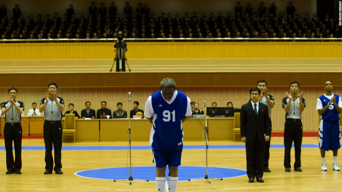 "Rodman bows to North Korean leader Kim Jong Un before he and several other former NBA players played an exhibition game on Kim's birthday in 2014. Rodman even sang ""Happy Birthday"" to Kim before the game. Rodman received criticism back home for his friendliness toward the authoritarian leader. In an interview later, <a href=""http://www.cnn.com/2014/01/31/us/dennis-rodman-interview/"" target=""_blank"">he told CNN</a> he's not a diplomat, just a former NBA star fighting alcoholism and trying to be a better father."