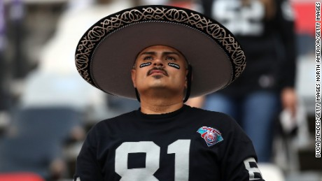 MEXICO CITY, MEXICO - NOVEMBER 21:   An Oakland Raiders fan is seen in attendance prior to the game against the Houston Texans at Estadio Azteca on November 21, 2016 in Mexico City, Mexico.  (Photo by Buda Mendes/Getty Images)