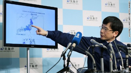 Japan's Meteorological Agency official Koji Nakamura gives a briefing following a 6.9-magnitude earthquake that hit the country's northeast, in Tokyo on November 22, 2016.