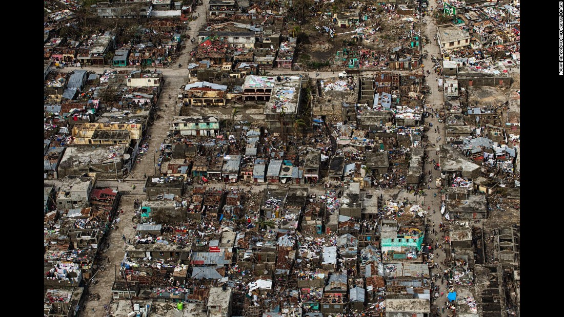 An aerial view of Jeremie, Haiti, on Thursday, October 6. The city, on the western tip of Haiti, suffered the full force of Hurricane Matthew.