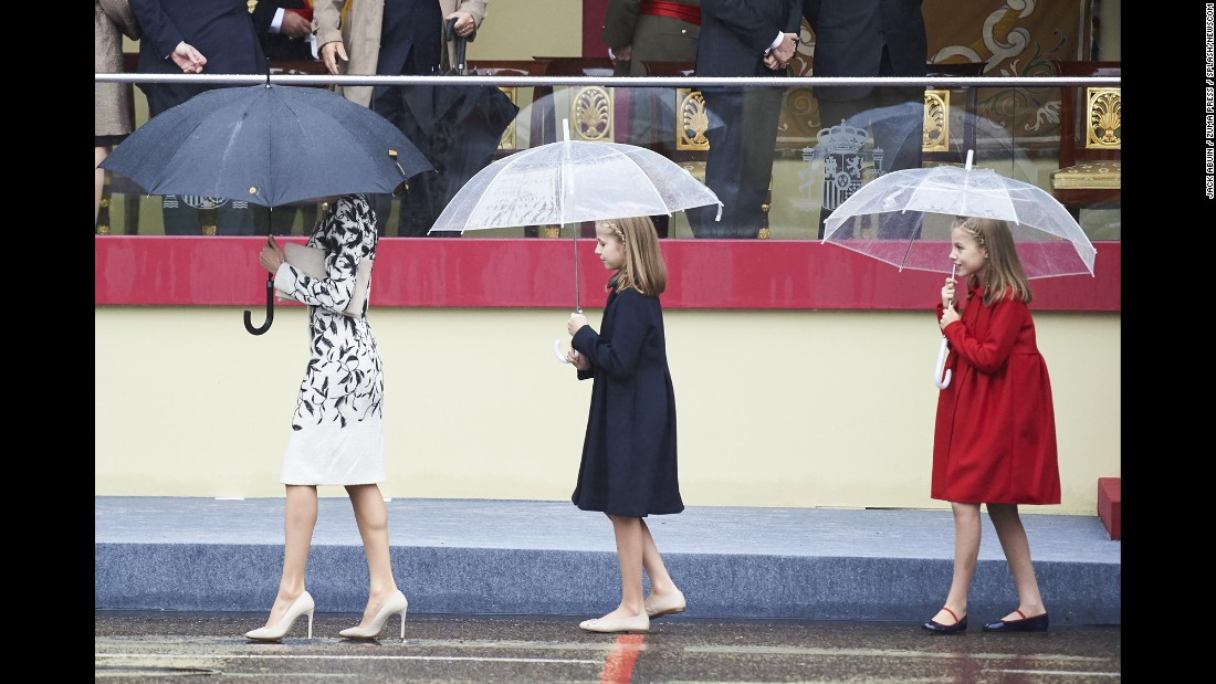 Spain's Queen Letizia, followed by her daughters, attend a National Day royal reception in Madrid on Wednesday, October 12.