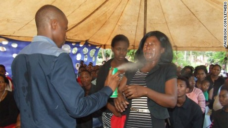 Pastor Lethebo Rabalago has posted photos on Facebook of him spraying insecticide into his congregants' faces.