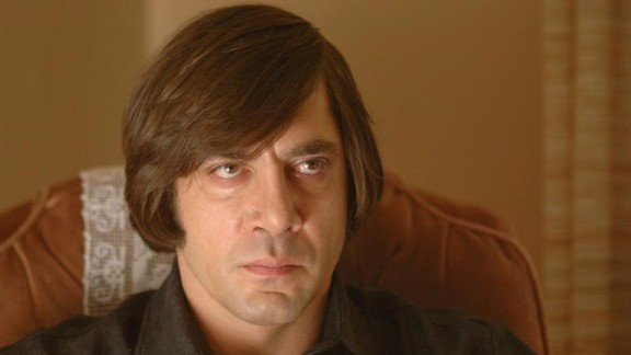 """""""No Country for Old Men"""":  Javier Bardem is a hit man in this film adaptation of the Cormac McCarthy novel of the same name. (Hulu)"""