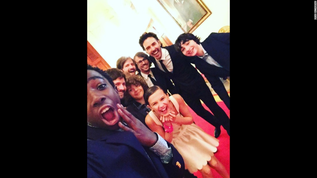 "Actor Caleb McLaughlin, left, takes a photo with other cast members of ""Stranger Things"" as they visit the White House on Tuesday, October 4. <a href=""https://www.instagram.com/p/BLJwwPiDsLP/"" target=""_blank"">He posted it to Instagram</a> with the caption: ""60 seconds after meeting the President."""