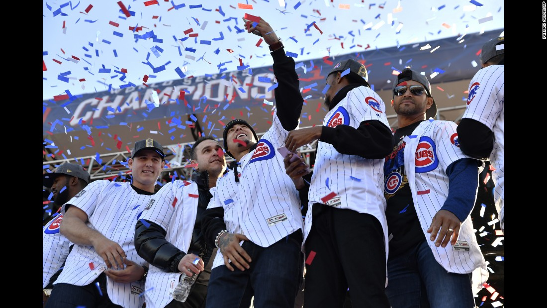 Members of the Chicago Cubs take a selfie together during their World Series victory parade on Friday, November 4. The Cubs hadn't won the World Series since 1908.