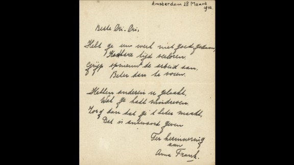 A poem written by Anne Frank signed and dated Amsterdam, March 28, 1942 sold at auction for 140,000 euros ($148,000).