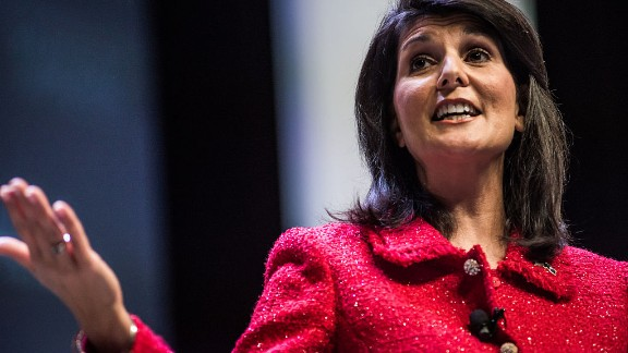 South Carolina Governor and moderator of the Heritage Action Presidential Candidate Forum Nikki Haley speaks to the crowd September 18, in Greenville, South Carolina. Eleven republican candidates each had twenty five minutes to talk to voters Friday at the Bons Secours Wellness arena in the upstate of South Carolina.